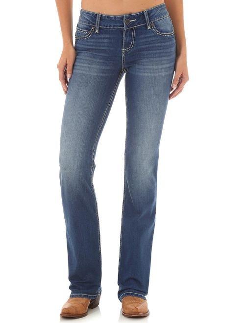 wrangler women's indigo retro mae simple pocket jeans boot cut - 09mwzjd