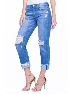 Liverpool Women's Kennedy Crop Boyfriend Jeans Gramercy Patched LM5113RD