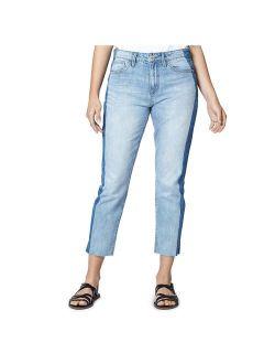 Sanctuary Denim Womens Charli Shadow Stripe High-Rise Straight Leg Jeans