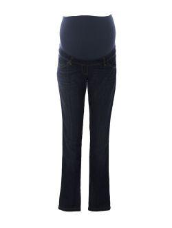 9FASHION Maternity Women's Urango Over Belly Jeans, Small, Indigo