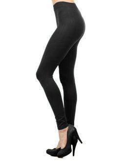 Women Seamless Basic Full Length Legging Stretch ankle Tights Pants - Black