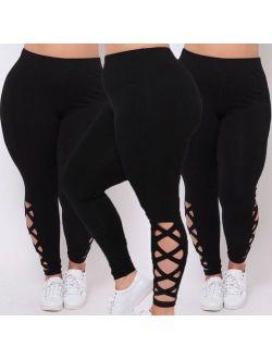Womens Black Leggings Plus Size Spandex Curvy Pants Solid New Soft