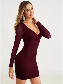 Double V-Neck Mesh Sleeve Bodycon Dress