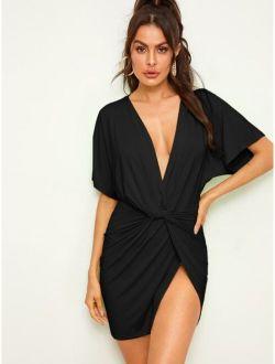 Plunge Neck Twist Asymmetrical Hem Dress