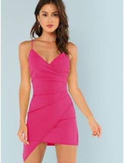 Surplice Neck Asymmetrical Hem Bodycon Slip Dress