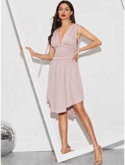 Asymmetrical Hem Drawstring Detail Ruched Dress