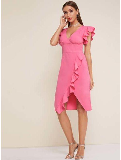 Shein Gathered Bust Ruffle Trim Asymmetric Hem Midi Dress