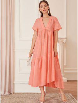 Solid Ruffle Hem High Waist Dress