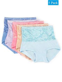 Women's Cotton High Waist Underwear Breathable Soft Tummy Control Bikini Panties Plus Size 2xl