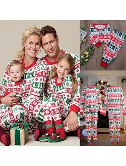 Pudcoco XMAS Family Matching Christmas Pajamas Set Womens MensKids Sleepwear Nightwear