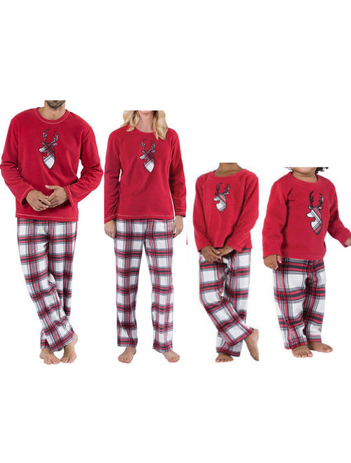 UFamily Matching Christmas Pajamas Set Women Daddy Kids Sleepwear Nightwear