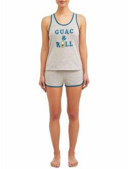 JV Apparel Women's and Women's Plus Knit 2-Piece Tank Top and Short Sleep Set