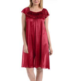 Ezi Women's Faux Satin Silk Ruffle Nightgown