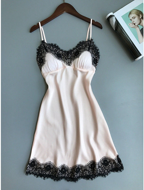 Women's Lace Strap Sleepwear Sleeveless Nightgown Night Dress