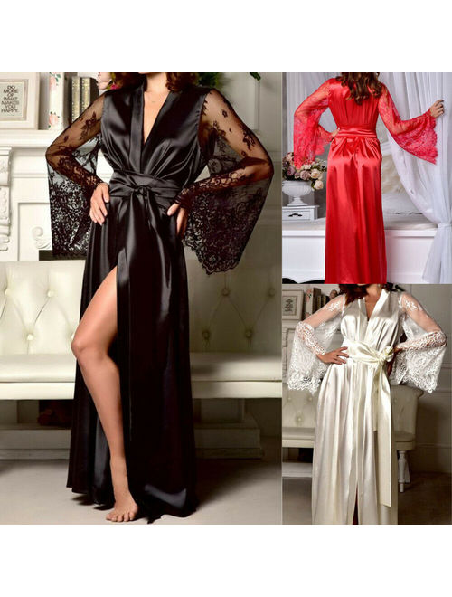 Women Sexy Sleepwear Nightgown Satin Silk Babydoll Lace Robes Sleep Dress Skirt