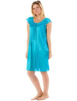 Casual Nights Women's Satin Nightgown Embroidered Lace Cap Sleeve - Aqua