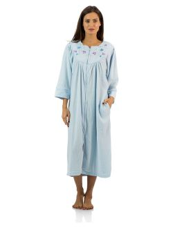 Casual Nights Women's Zipper Front Jacquard Fleece Long Robe Duster