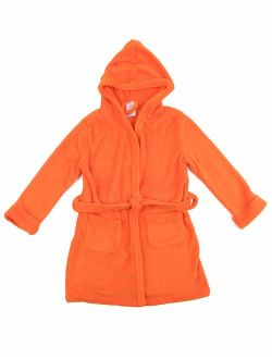 Kids Robe Boys Girls Solid Hooded Fleece Sleep Robe Bathrobe (2 Toddler-14 Years) Variety Of Colors