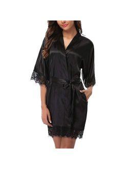 Fysho Women's Robe Lace Stitching Sexy Half Sleeve Pajamas