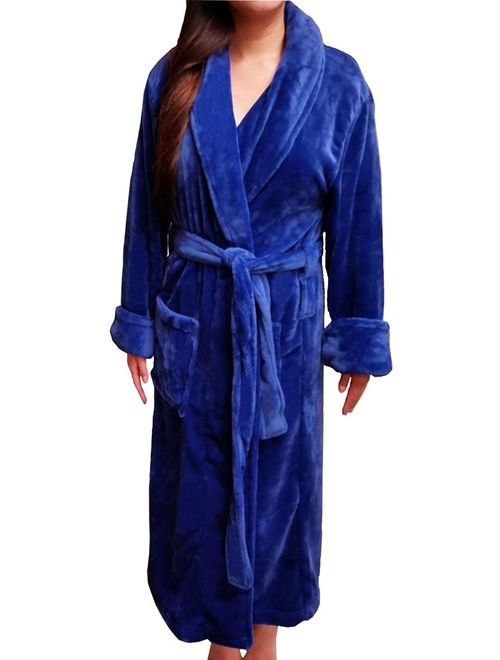 FASCIINO Women's Full Length Shawl Collar Microfiber Fleece Bathrobe Spa Robe