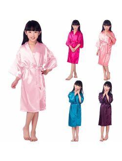 Kids Girl Boy Children Kimono Dressing Gown Bath Robe Homewear Sleepwear Pajamas