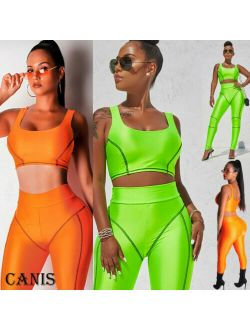 Pudcoco Women Crop Top Long Pants Set Two Piece Outfits Jumpsuit Playsuit Casual Suits