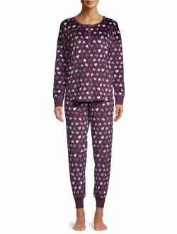 Women's And Women's Plus 2-piece Velour Top And Jogger Sleep Set
