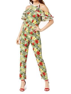 Womens Small Floral Cold Shoulder Jumpsuit S