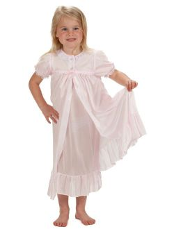 Laura Dare Girls Short Sleeve Tradition Peignoir Set in Solid Colors, 2T - 14