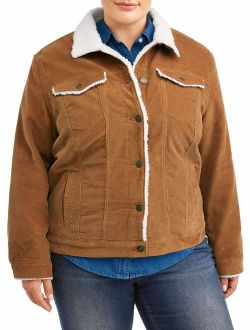 Women's Plus Size Corduroy Jacket With Shearling Collar
