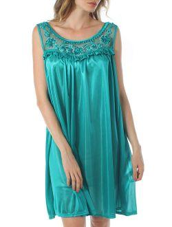 Venice Women's Silky Looking Nightgown w Sequins & Ribbon Roses 40N Medium Teal