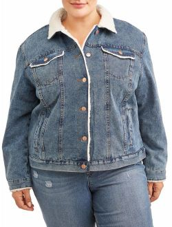 Women's Plus Size Denim Jacket With Shearling Collar
