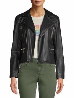 Vegan Leather Biker Jacket Women's