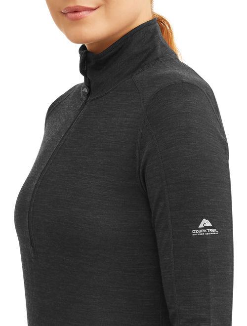 Ozark Trail Women's Wool Blend Half Zip Thermal Baselayer Pullover