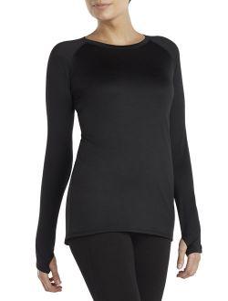 Women's And Women's Plus Plush Warmth Long Underwear Top, Blackest Black, Size Medium