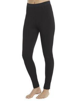 Women's And Women's Plus Plush Warmth Long Underwear Legging, Blackest Black, Size Large