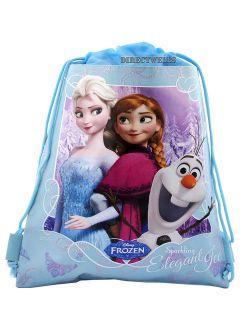 Frozen Elsa Anna And Olaf Light Blue Drawstring Bag