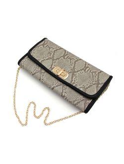 Premium Snakeskin PU Leather Turnlock Flap Handbag Clutch Bag