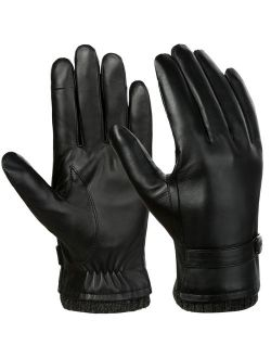 Mens Leather Gloves-Fitbest Mens Leather Gloves Texting Touchscreen Warm Leather Daily Dress Daily Driving Gloves M