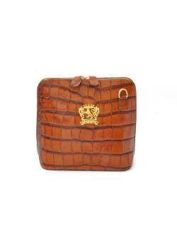 Pratesi Womens Italian Leather Volterra King Croco Small Crossbody Clutchbag