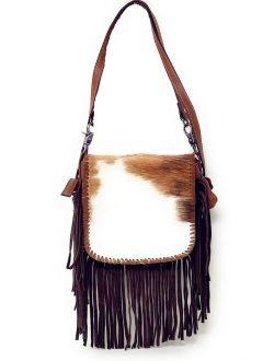 Western Genuine Leather Cowhide Fur Fringe Womens Crossbody Bag In Multi Color