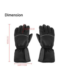 Electric Heated Gloves with Rechargeable Battery Powered Heat Gloves Waterproof Winter Sport Thermal Gloves Touchscreen Handwarmer for Skiing Hiking Climbing Driving, Col