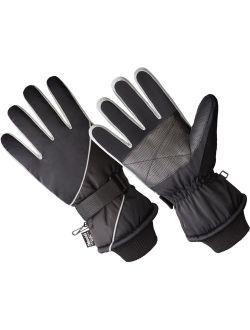 SK1012-OSFM, Men's Premium Ski Glove, 40 gm 3M Thinsulate Lined, Black/Grey (One Size Fits Most)
