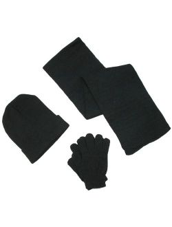 Men's Knit Solid Hat Gloves and Scarf Winter Set, Size: one size
