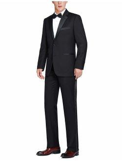 Men's Classic Fit Satin Notched Lapel 2 Piece Tuxedo Suit Set - Tux Blazer Jacket and Pants