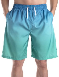 Mens Board Shorts Swim Trunks, Mens Print Long Trunk Swimwear Breathable And Elastic Waist Drawstring, Green/ Red, Up To Size 3xl