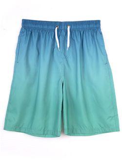 Mens Swim Shorts Beach Trunks Surf Quick Dry Boardshorts Swimwear Elastic Waist Drawstring, Green/ Red