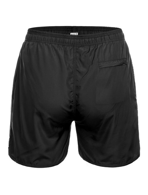 LELINTA Mens Casual Swim Shorts Beachwear Swim Trunks Swimwear Underwear Swimsuit Board Shorts With Pockets Beach Pants Quick Dry Swimming Surfing Bathing, Black, M-2XL