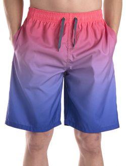 Men's Swim Trunk Beach Board Shorts Swimsuit With Elastic Waist Drawstring Red