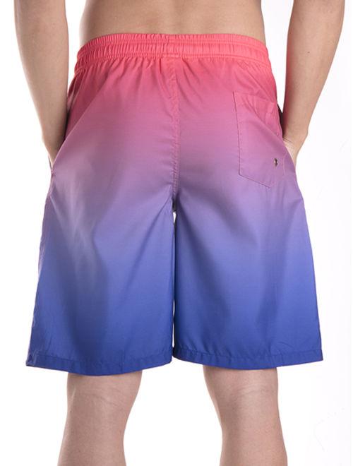 LELINTA Men's Swim Trunk Beach Board Shorts Swimsuit with Elastic Waist Drawstring Red